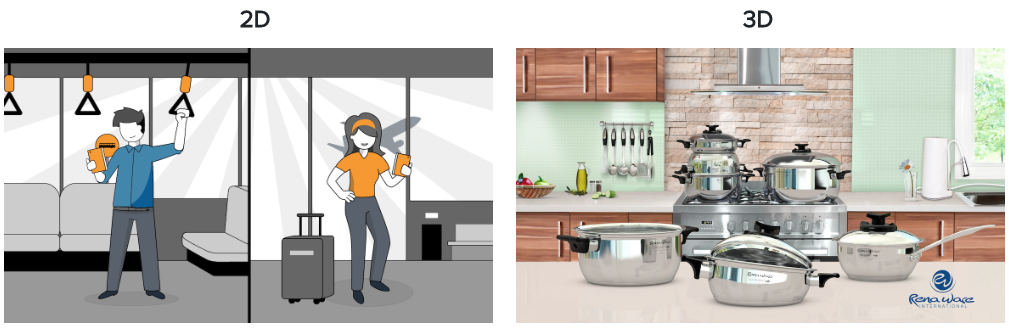 """2D animation of man on public transportation and woman at airport and a 3D animation of """"talking"""" pots and pans in a kitchen setting"""