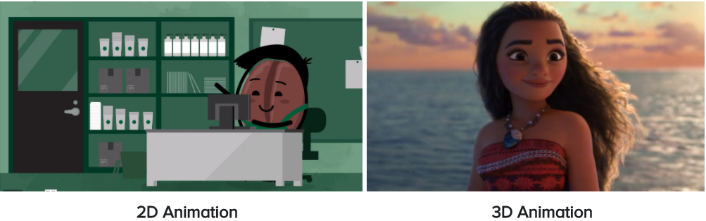 Side-by-side examples of 2D animation of a Starbucks Bean and 3D animation from Moana