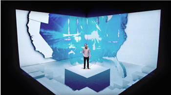3D projection mapping of a man standing in studio space with a map of the United States behind him