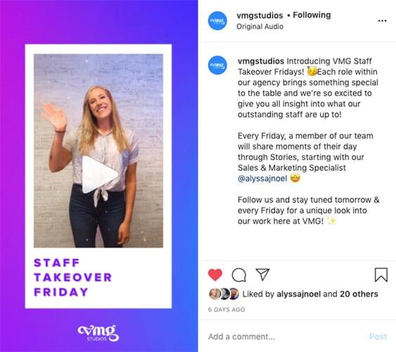 Staff takeover Friday on VMG Studios' Instagram Reel