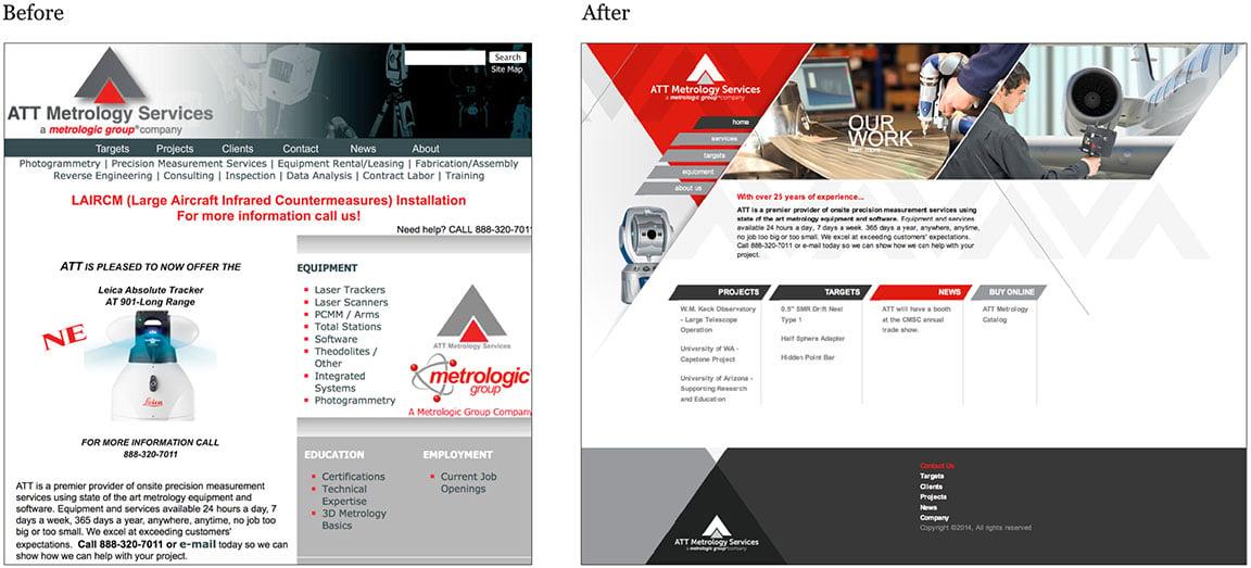 ATT Metrology website design before and after