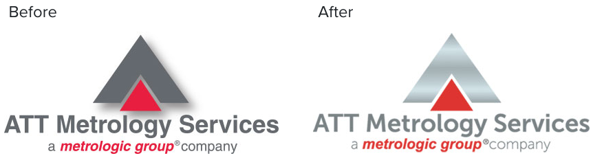 ATT Metrology logo before and after