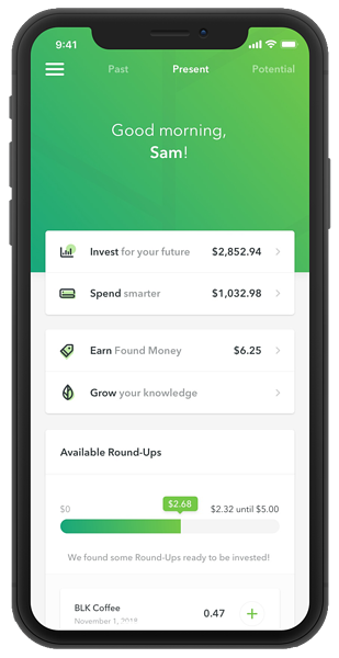 Home screen of the Acorns app showing financial information