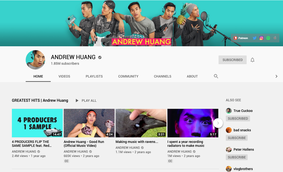 Screenshot of Andrew Huang's YouTube channel
