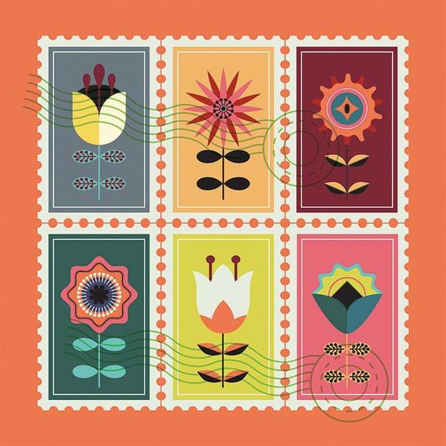 Nature flower designed postcard