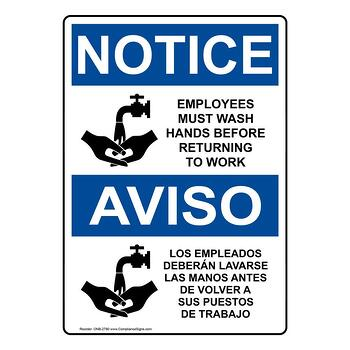 Bilingual sign for employees to wash their hands