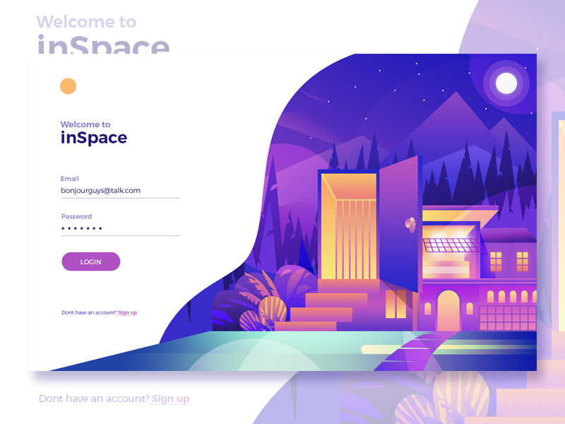 Log-in page for inSpace featuring bright gradient design work such as a building with trees and mountains in the background with a bright moon