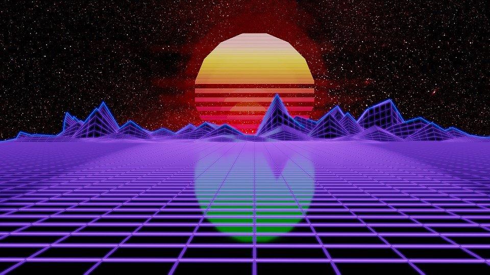 Retro wave design of a sun behind mountains in the horizon