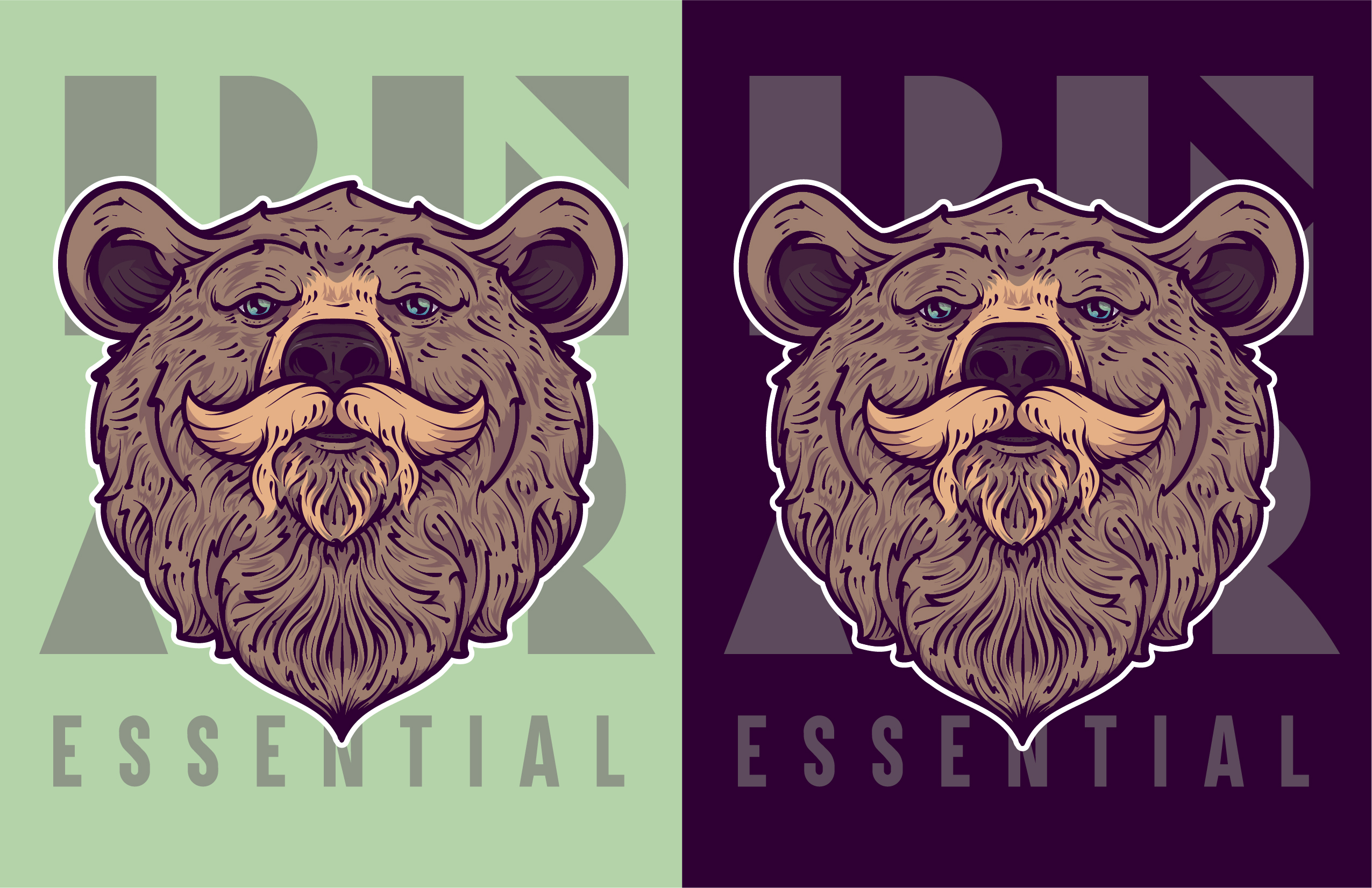 Custom illustration of a brown bear with a mustache