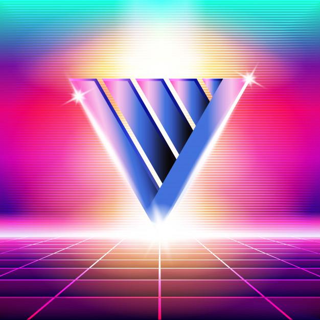 Retro wave design of a v shape against bright colors