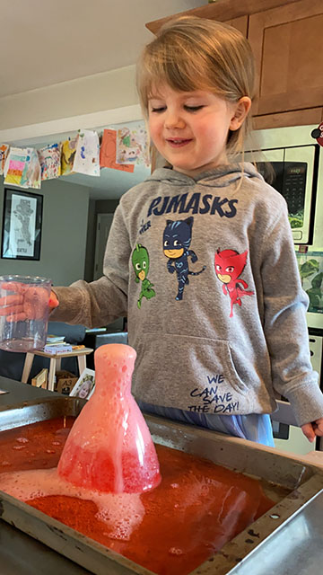 VMG Studios producer's daughter doing a science experiment while remote learning during COVID-19