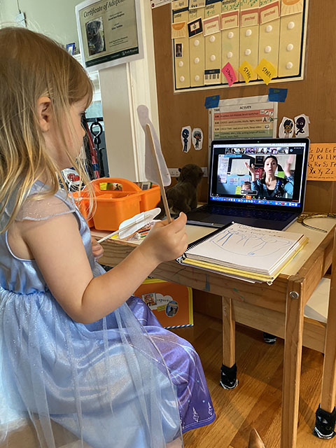 VMG Studios producer's daughter on a Zoom call for online, virtual learning during COVID-19