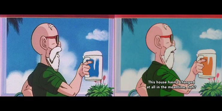 Dragon Ball Z U.S. version and Japanese version side-by-side of an older gentleman drinking either beer or water