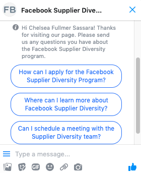 Screenshot of Messenger with Facebook Supplier Diversity page