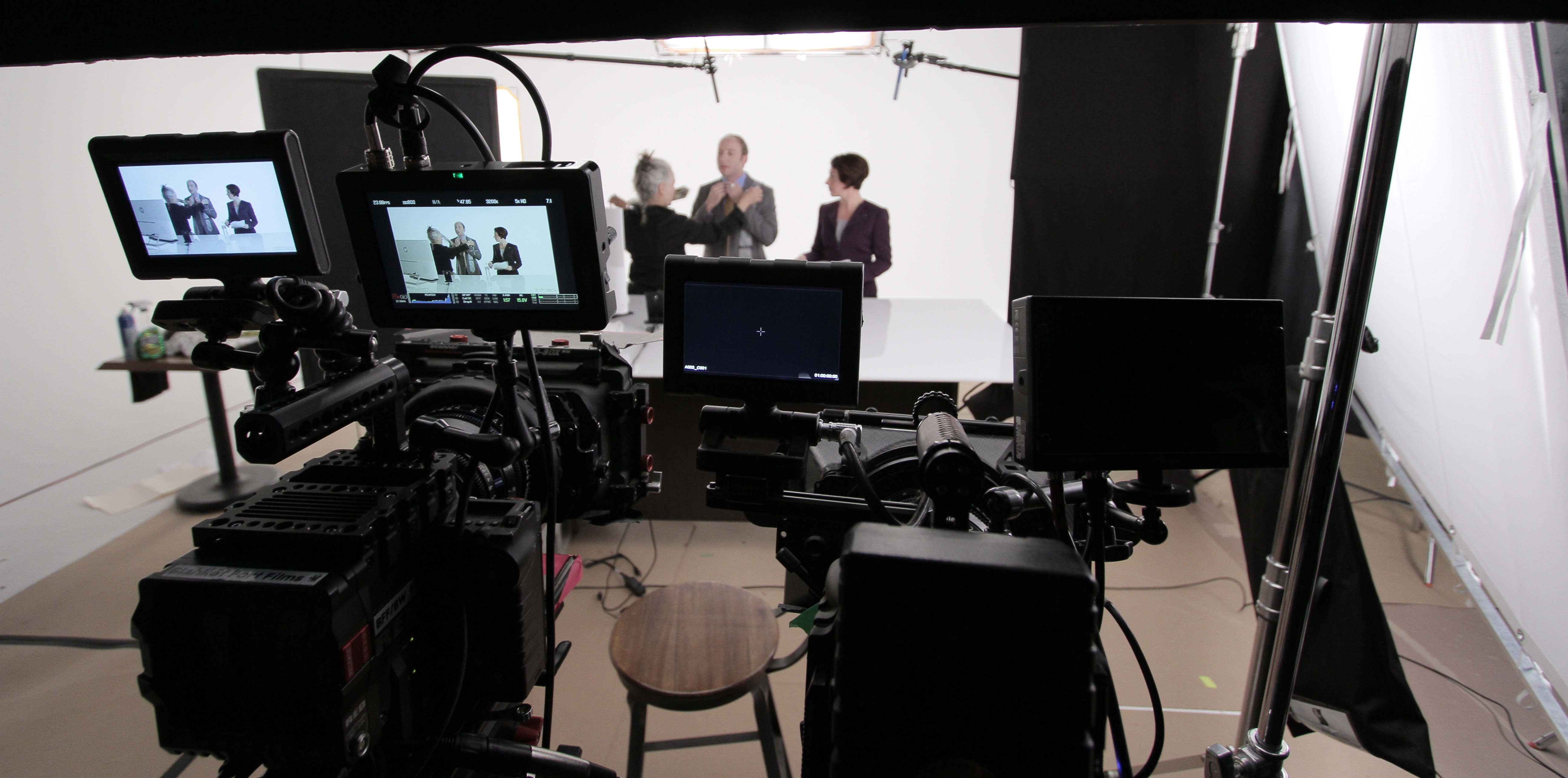 Video production studio with 2 actors and wardrobe in front of cameras