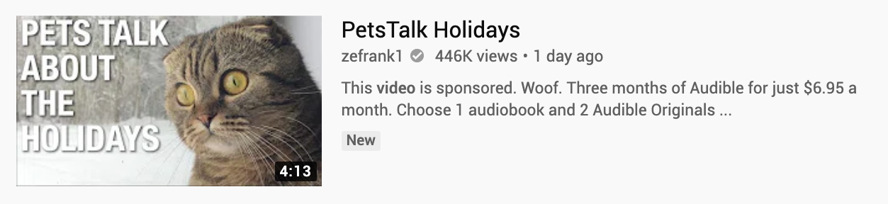 Screenshot of YouTube video from zefrank1 of PetsTalk Holidays