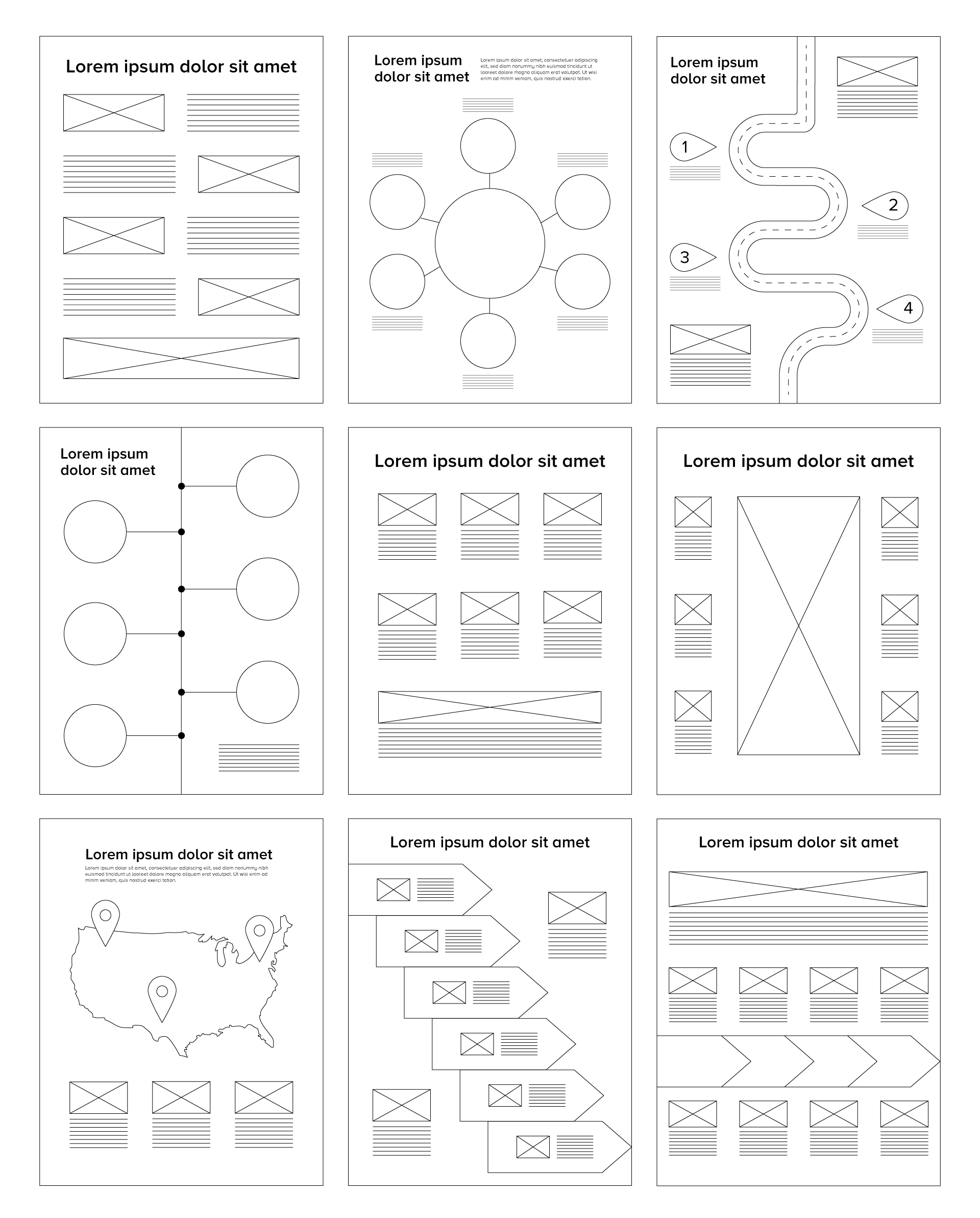 Different structure layouts for infographics