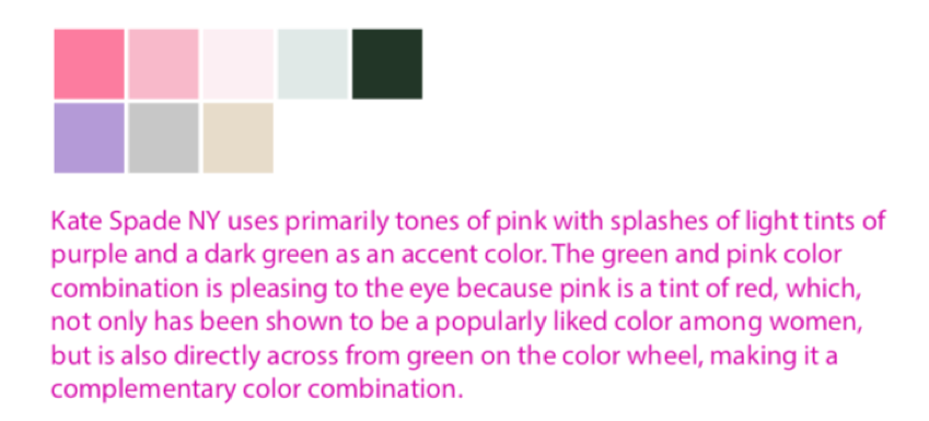 Brand color palette for Kate Spade New York