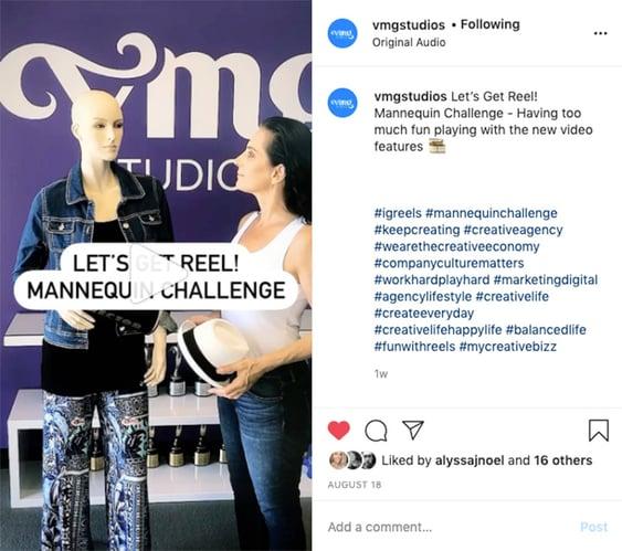 Mannequin challenge on VMG Studios' Instagram Reel