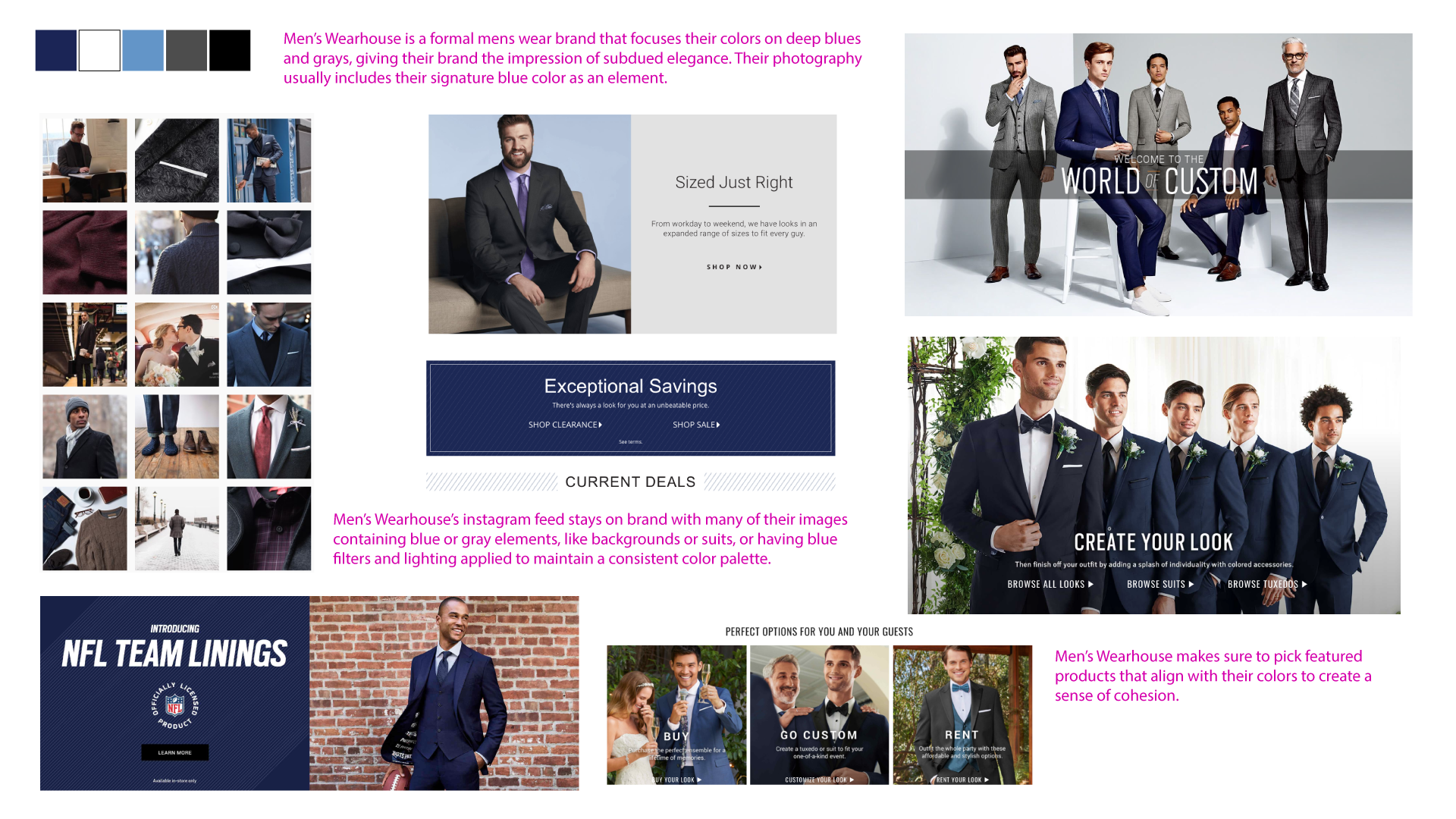 Men's Wearhouse brand color palette and website design