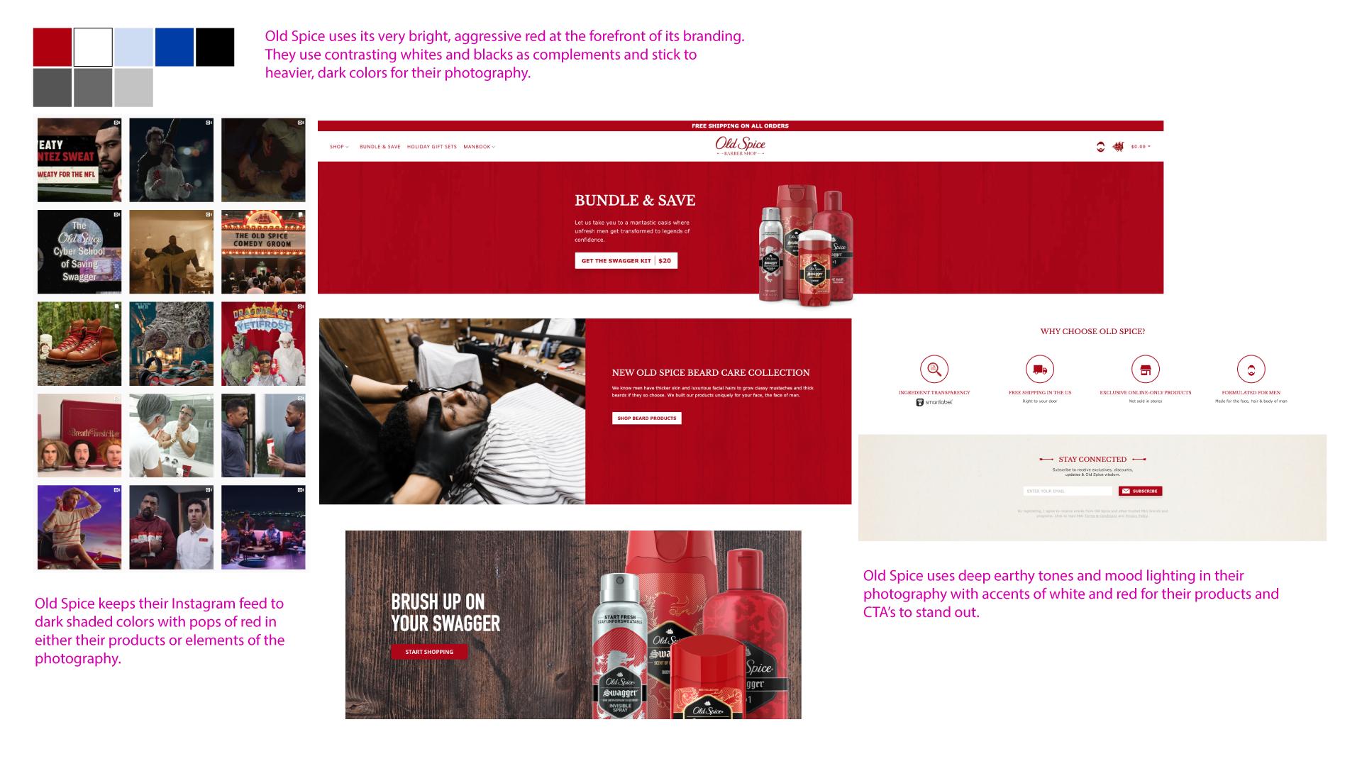 Old Spice brand color palette and website design