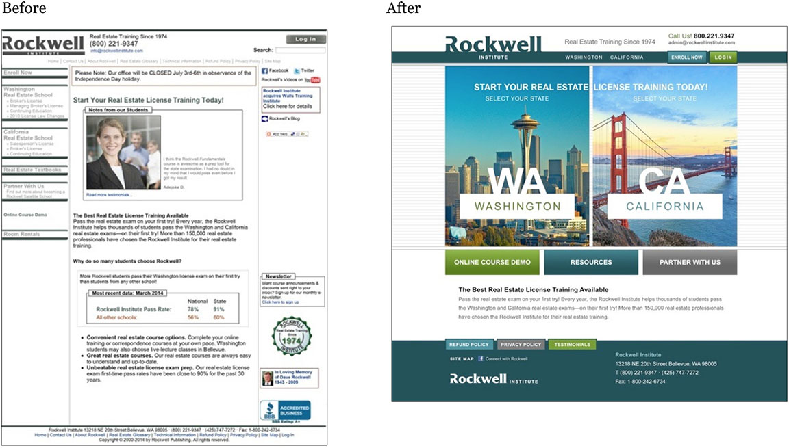 Rockwell website design before and after