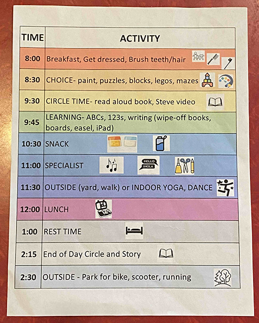 Copy of a schedule for remote/virtual learning and having a full-time working parent during COVID-19