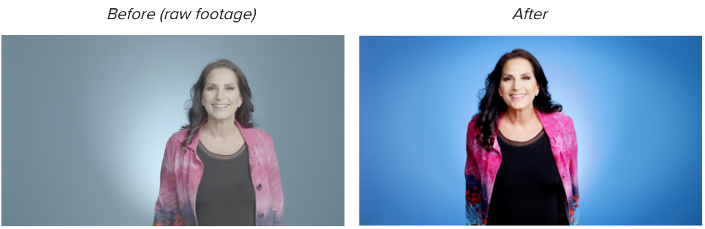 Before and after color grading of still picture from a video of a woman smiling at a camera against a blue background