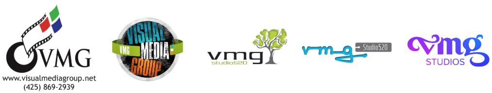 VMG Studios logo designs through the years