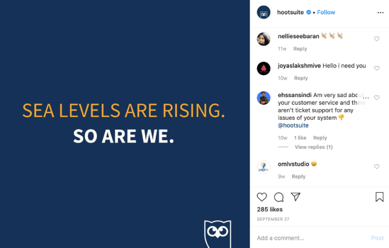 Sea levels are rising. So are we. Heavy font Instagram post for Hootsuite