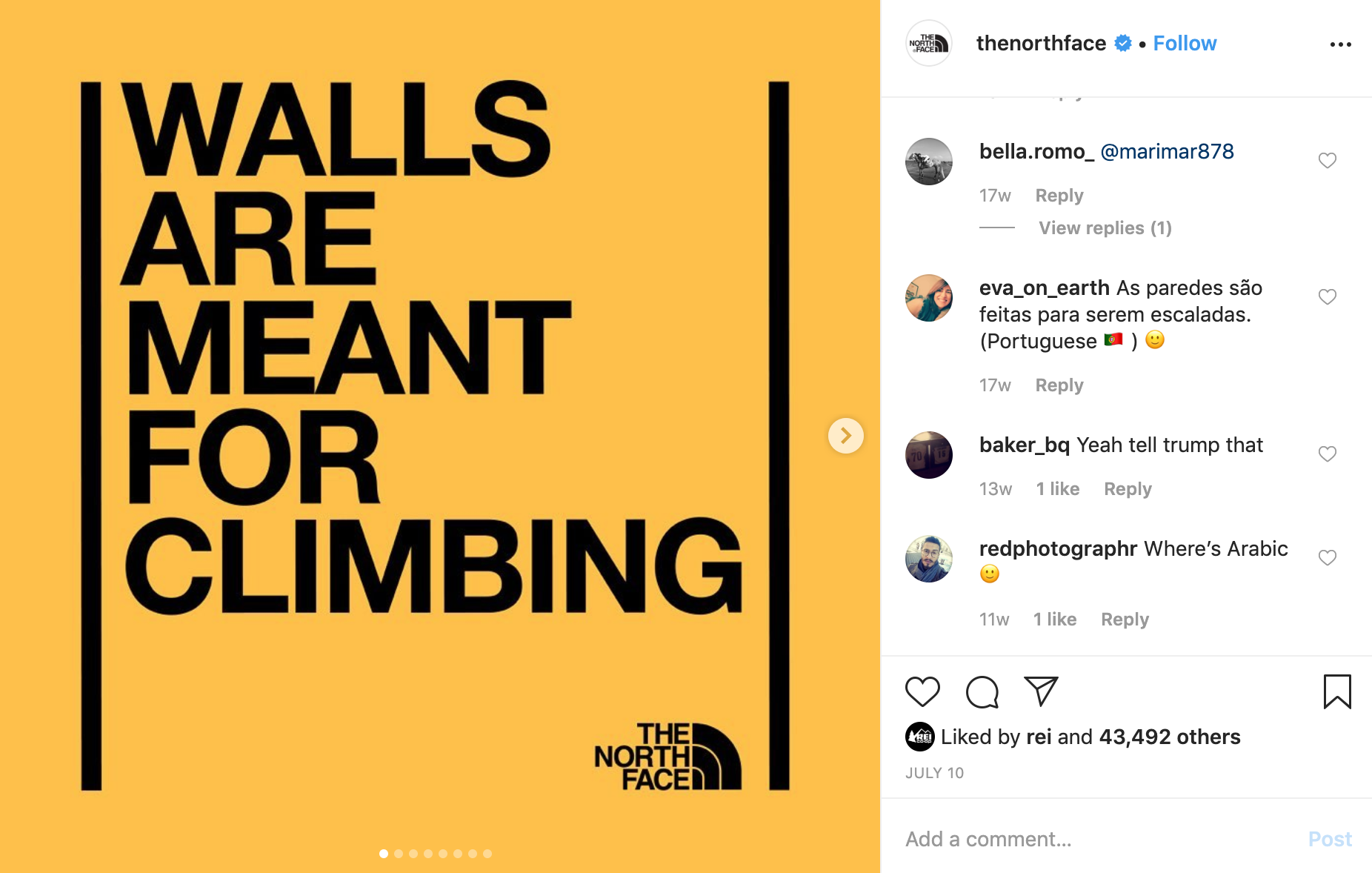 Walls are meant for climbing instagram post for The North Face