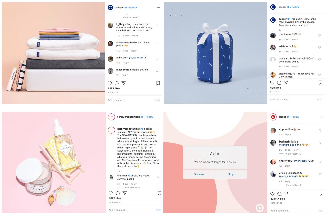 Muted color palettes social media trends instagram pages of Casper, Herbivore Botanicals, and Target