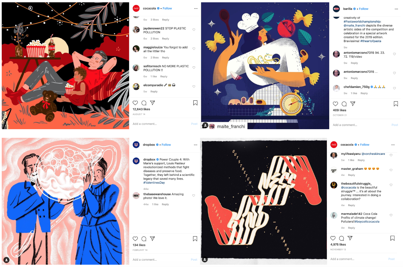 Abstract/dreamy illustrations social media trends instagram pages of Coca-Cola, Barilla and Dropbox