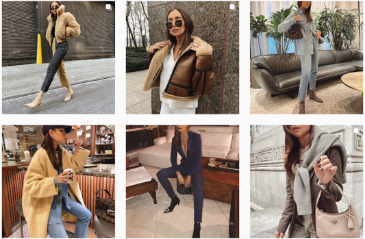 """Instagram page style of """"no edit"""" edit of woman's fashion"""