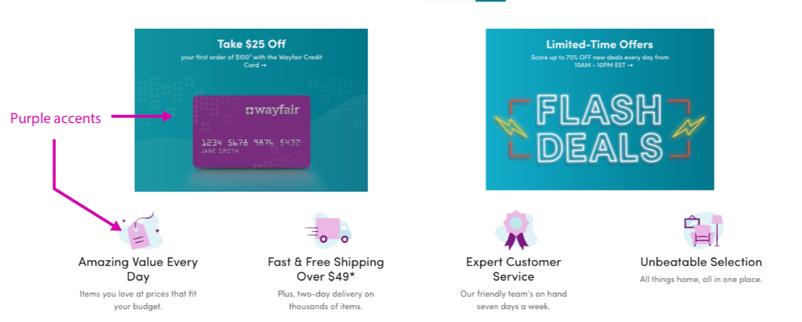 Wayfair online website deals design utilizing its brand colors