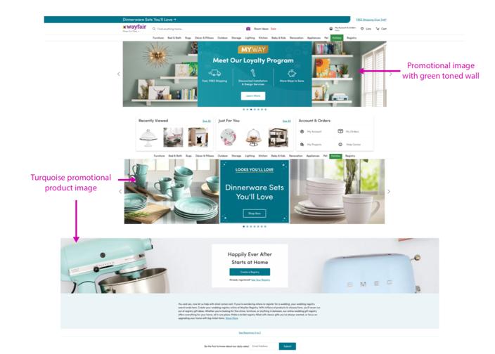 Wayfair website design utilizing its brand colors