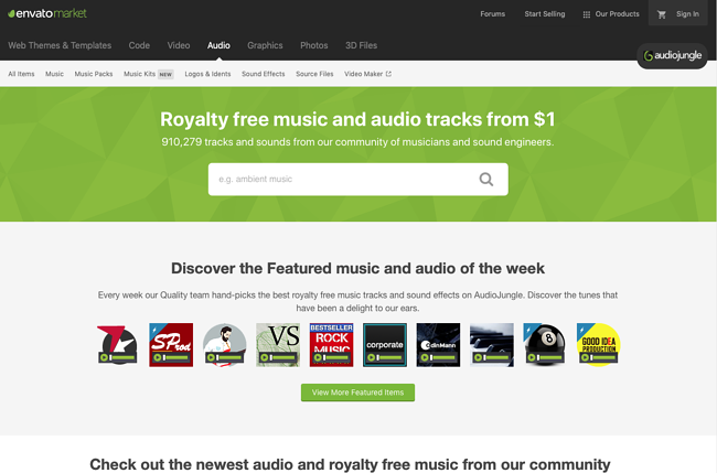 Audiojungle music library website page
