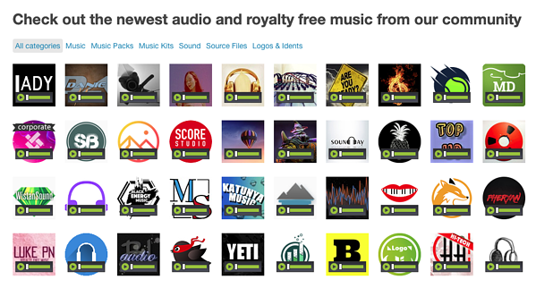 Audiojungle music library categories