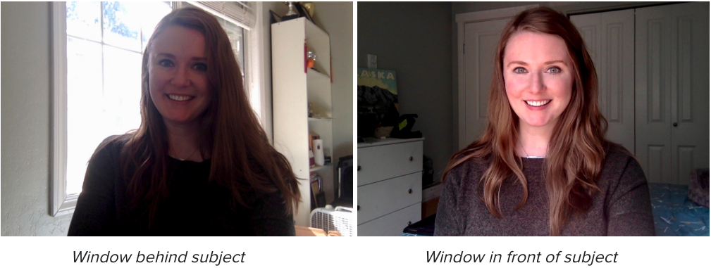 Young woman smiling to webcam. Picture on left shows a backlit window behind her, the picture on the right has the natural light in her face.