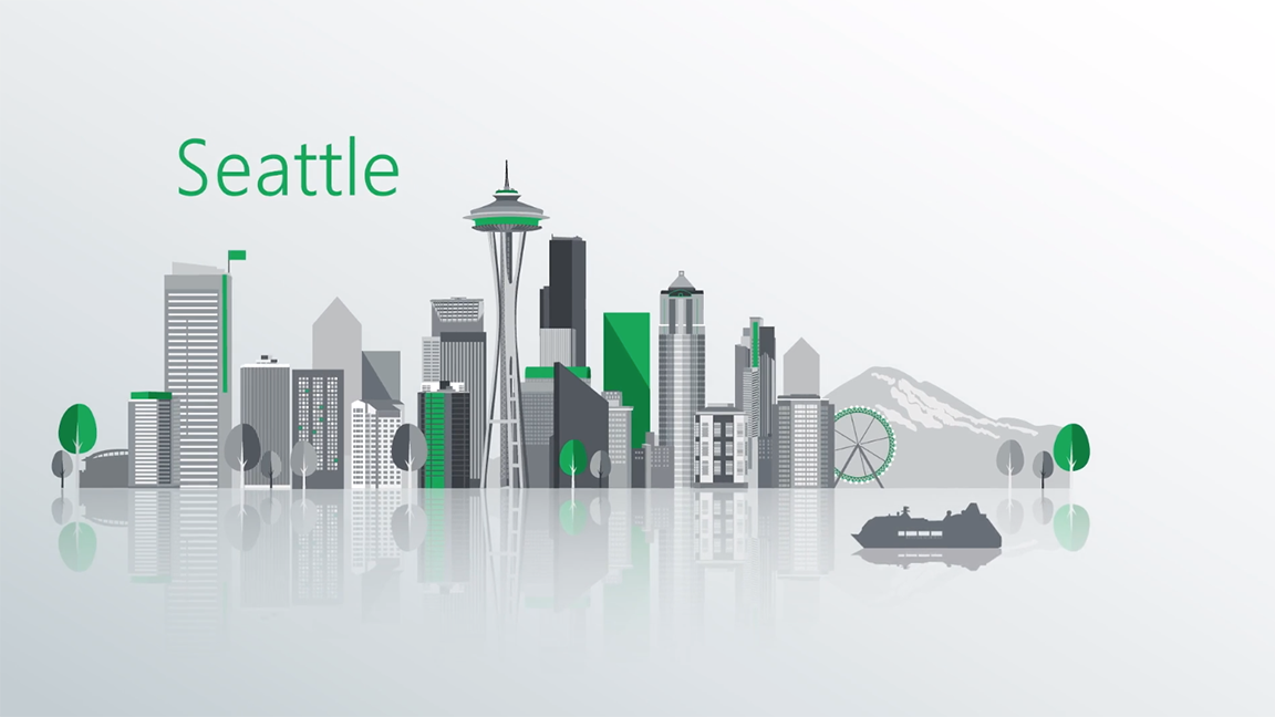 Animated skyline of the city of Seattle including the Space Needle and Mt. Rainier