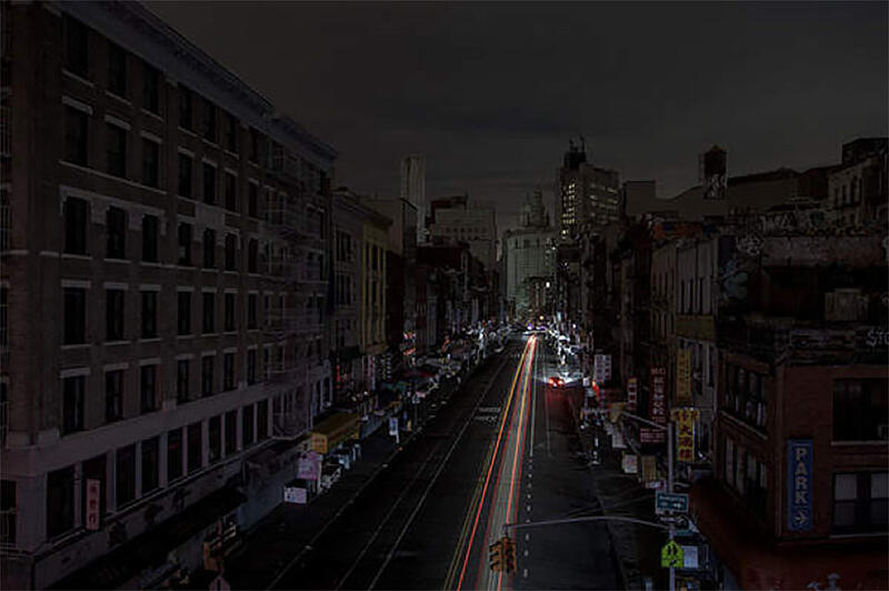 View of city street during a blackout