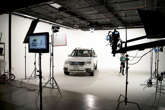 car in studio for video production shoot at vmg studios