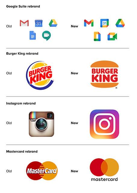 Company rebrand examples - Google, Burger King, Instagram, Mastercard