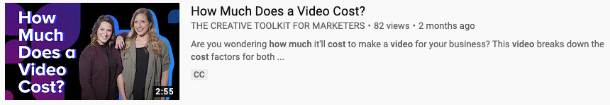 YouTube video thumbnail for How Much Does a Video Cost from The Creative Toolkit for Marketers