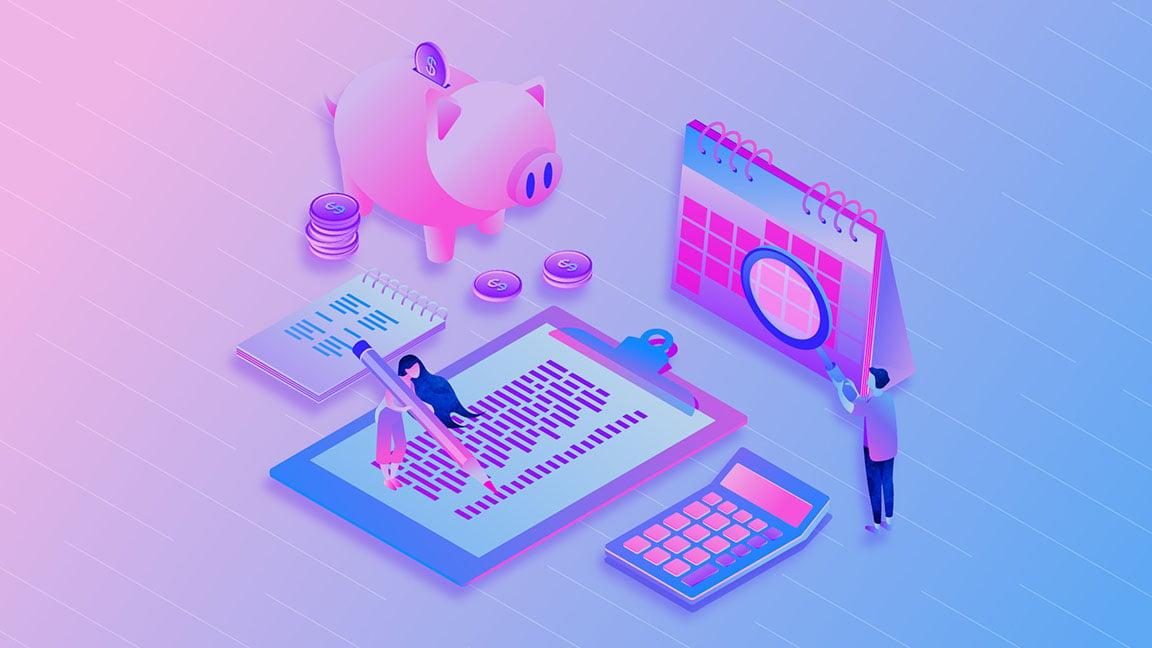 Design project budget artwork including a piggy bank with coins, calculator, calendar