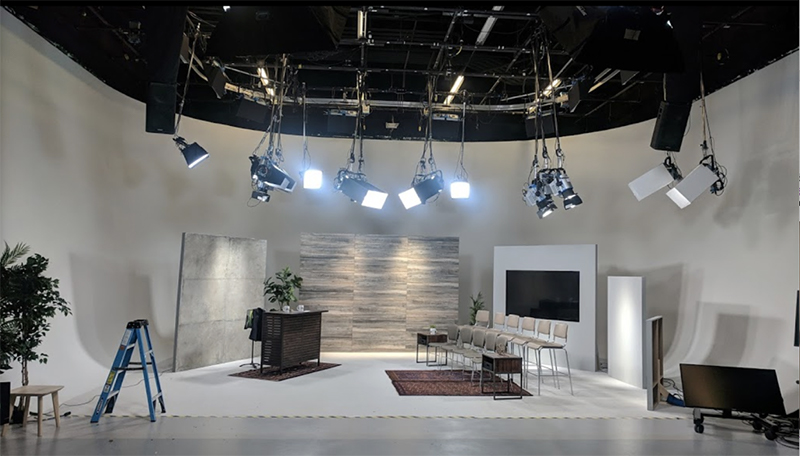 Designed video production set in a clean, studio space