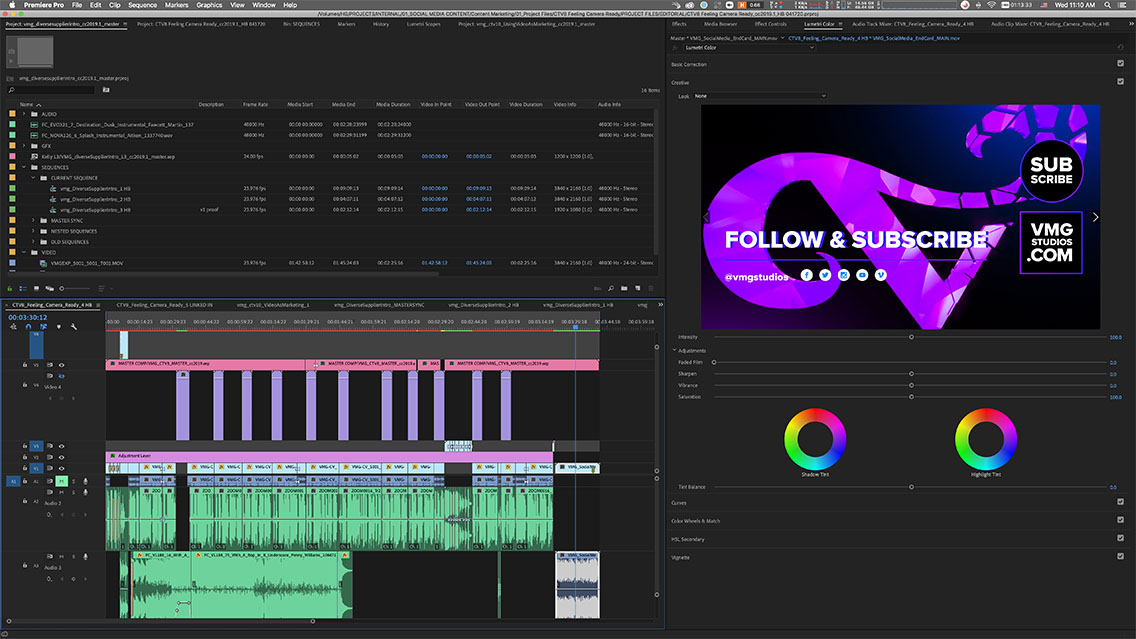 Editing timeline of a video in Adobe Premiere Pro
