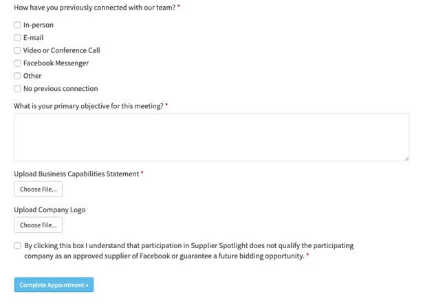 """Screenshot of Facebook Supplier Diversity """"Supplier Spotlight"""" contact form/questionnaire"""