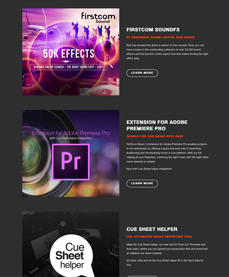 FirstCom music library additional services, Adobe Premiere