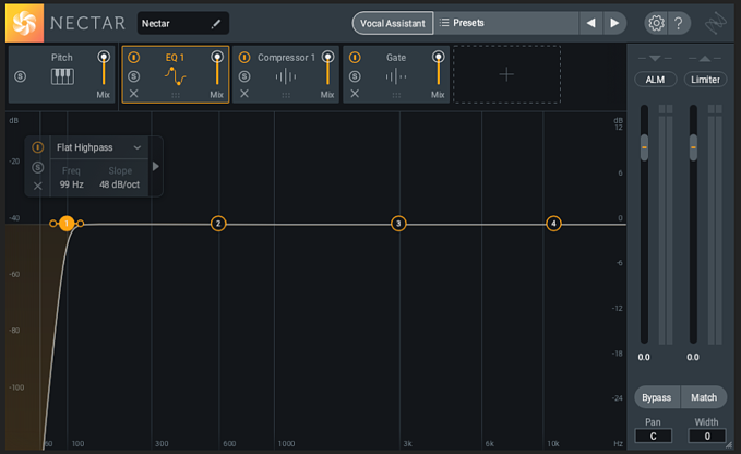 Applying the highpass filter in iZotope Nectar 3